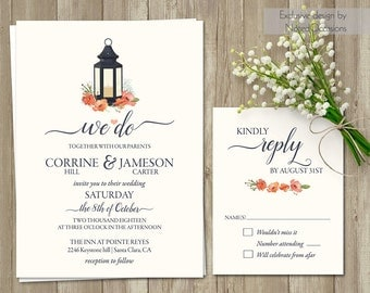 Rustic Lantern Wedding Invitation Set Country Wedding Invitations + RSVP Card Suite Navy Blue and Coral Flowers Printable Template Floral
