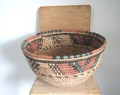 Vintage woven basket/ round hand woven basket/ blue and red patterns/boho decor
