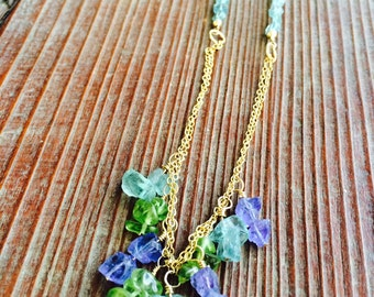 Apatite, Peridot, Tanzanite, and 14KT Gold Filled Necklace / Statement Necklace / Gemstone Necklace / Carribean Blue Apatite