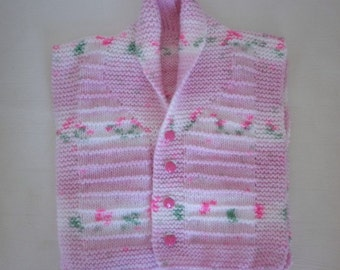 Pink Hand Knitted Baby Vest - Child Vest - baby shower gift,baby clothes - Gift for kids & babies,  Size 12-18 months, christmas gift