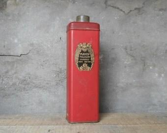 Vintage Mavis Talcum Vivaudon in Red Shaker Tin 7 oz Size with Some Powder Content Art Nouveau Graphic Label Collectible Scent Toiletries