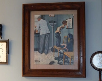 Vintage 1972 Art NORMAN ROCKWELL Before The Shot~Bathroom Study~Doctors Office Decor~Solid Wood Framed~Saturday Evening Post 1958
