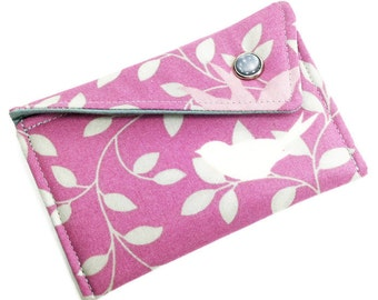 Business Card Holder - Purple Grey Mauve Birds and Leaves - Card Case - Gift Card Holder