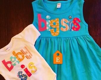 Big Sis Baby Sis Dress and Shirt Set - Sibling Sets, Big Sister Little Sister, Baby Sister