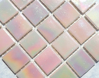Light Pink Iridescent Glass Mosaic Tiles Squares - 3/4 inch - 25 Tiles for Craft Projects and Decorations