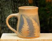 Blue Fern Mug, 20oz. Collectable Handmade stoneware, Microwave friendly