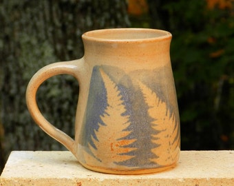 Blue Fern Mug, 20oz. 10%Off,Handmade stoneware, Microwave friendly