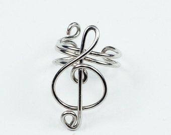 Summer Sale - 10% off - Silver Ear Cuff - Small Treble Clef