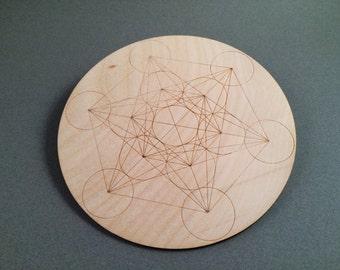 Metatron's Cube crystal grid, engraved, wood, charging grid, round, sacred geometry, 6, wooden, laser, cut, birch, handmade, love