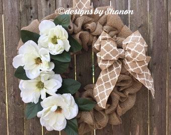 Spring wreath, burlap wreath, magnolia wreath, summer wreath, everyday wreath