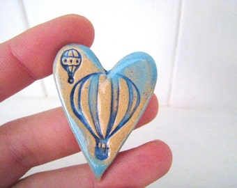 Hot Air Balloon heart brooch / pin / button / badge. Ceramic. Made in Wales, UK