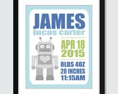 Robot Birth Announcement Wall Print. Personalized Wall Art. Custom 8x10 Poster for Baby & Kids by mateoandtobias on Etsy