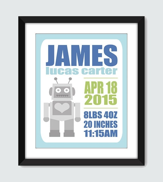 Baby Gift Robot Birth Announcement Wall Print. Personalized Wall Art. Custom 8x10, 5x7 Poster for Baby & Kids by mateoandtobias