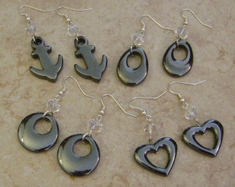 Hematite Stone & Beaded Crystal Silver Charm Earrings - YOU CHOOSE