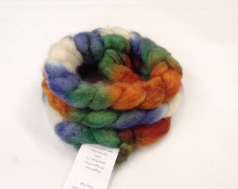Blue Face Leicester/Silk braid Hand Painted in Valley of the Moon by Royale Hare spinning yarn soft knitting crochet