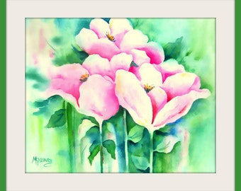Watercolor Pink Flowers by Martha Kisling Art With Heart
