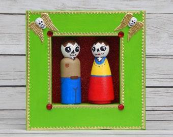 Dia de los Muertos / Day of the Dead Peg Doll Peasant Couple Wall Art