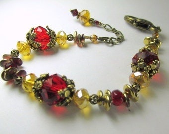 Marsala Dark Red and Gold Detailed Bracelet in Brass with adjustable chain
