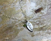 Personalized Fine Silver Petal Name Tag and Birthstone Necklace