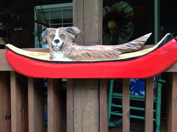 Custom pet portrait : YOUR dog in a canoe send pic. of your pet chainsaw wooden dog carving rustic home decor wall art personalized