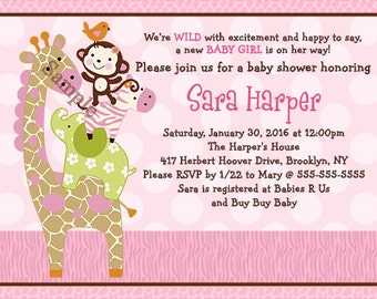 "Personalized/Customized ""Jungle Jill/Girl Animals Stacked"" Printable Baby Shower Invitation 5x7 Digital File U Print yourself"