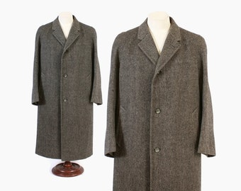 Vintage 60s OVERCOAT / 1960s Men's Savile Row Gieves & Hawkes Bespoke Herringbone Wool Winter Coat M - L