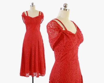 Vintage 50s Party DRESS / 1950s RED LACE Off the Shoulder Full Skirt Dress S