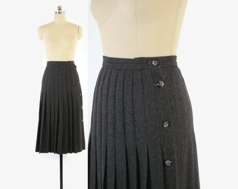 Vintage VALENTINO Wool SKIRT / 1970s-80s Gray Pleated Button Midi Skirt XS - S