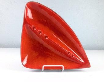 Large Vintage Pottery Dish Ashtray, 1960s Atomic Mid Century, Bright Orange Mod Ashtray, MCM Decor, Orange Ash Tray, Made in USA