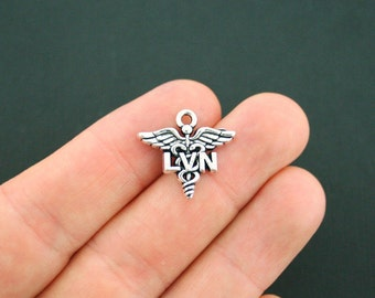 4 LVN Charms Antique Silver Tone  Licensed Vocational Nurse or Visiting Nurse Charm - SC5610