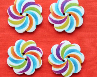 4 Large Wood Buttons Daisy Floral Design 37mm - BUT324