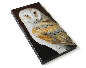 Barn Owl painting #3, realistic wildlife art original, 6x12
