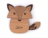 Fox Christmas Ornament, Baby Christmas Ornament, Personalized Child Fox Ornament, Custom Baby's 1st Christmas Fox Ornament Wood Fox Gift Tag