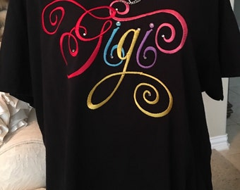 Mimi ,Gigi, Nana , grandma, great grandma t-shirt. This shirt can be ordered for any name requested-embroidery- shirts for grand