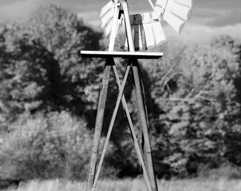 Windmill - Black and White Fine Art Photograph - Fall / Autumn, Rustic Home Decor New England, Connecticut
