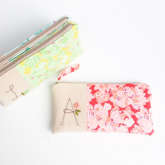 succulent baby shower hostess gifts unique monogram clutch