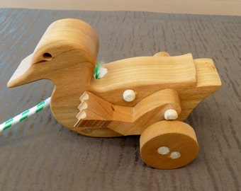 Duck Mechanical Animated Wood  Pull Toy