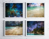 night sky beach photography - set of 4 prints - photo gift set - starry night sky photography