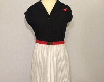 Vintage New Wave Executive Pinstripe 80s Dress