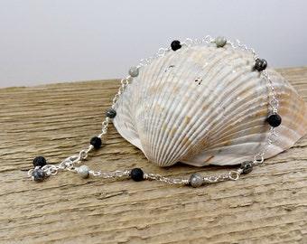 Black Gray Anklet, Agate Gemstone Jewelry, Sterling Silver Ankle Bracelet, Beaded Anklet, Dainty Anklet
