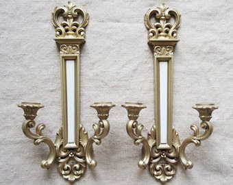 Pair Syroco Wall Sconces Gold & White Double Arm Fleur de Lis Vintage 1969