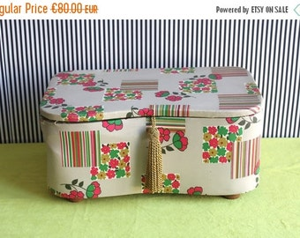 Summersale Vintage Fifties Upholstered Jewel Box or Sewing Kit box