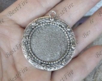 15pcs Antique Silver rose round Cabochon pendant tray (Cabochon size 25mm),bezel charm findings,lacework findings,cabochon blank finding