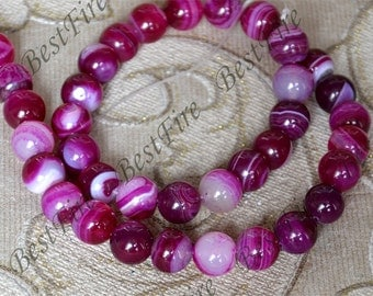 Single hot pink 10mm Round Agate Beads ,agate stone beads loose strands,agate beads findings