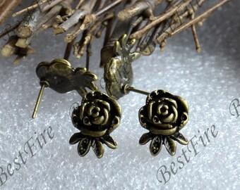 12pcs Antique brass Flower Ear Studs,Blank Earwires Findings,Earings Findings,earring base findings