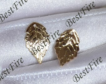 6 pcs 24K Gold plated Brass leaf Pendant,leaf pendant Connector,necklace Connector loose bead, Charms Jewelry finding beads