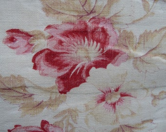 ANTIQUE FRENCH FABRIC fabulous raspberry and pink roses
