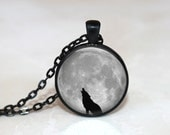 Glass Tile Necklace Wolf Necklace  Moon Necklace Glass Tile Jewelry Animal Jewelry Moon Jewelry Wolf Jewelry Black Necklace Black Jewelry