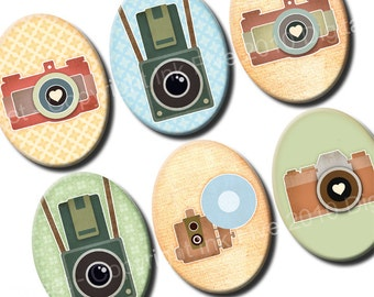 30x40 mm ovals Vintage Photo Cameras. Images for cabochons, cameos, pendants. Retro style digital download. 30x40 mm collage sheet