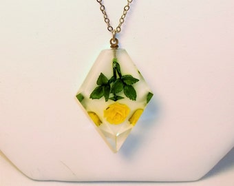 Vintage Lucite Pendant Necklace with Yellow Flower Silver Chain 1940s 1950s